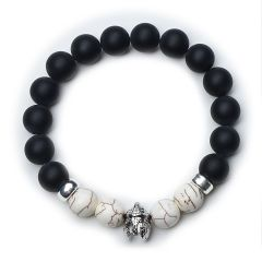 Black Frosted Stone Beads and White Turquoise Healing Bracelet Balancing Reiki Yoga Jewelry