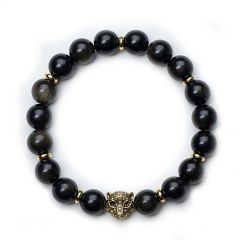 Obsidian Protection Beads Yoga Bracelet Stretch Leopard Head Charm Energy Bracelet
