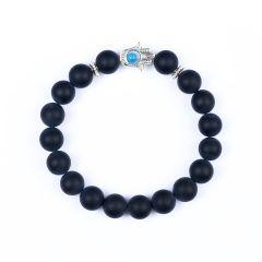 Charm 10mm Black Frosted Stone Beads Buddha Hamsa Hand Stylish Elastic Chakra Yoga Bracelet