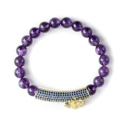 Beautiful Energy Power Amethyst 8mm Chakra Beads Reiki Healing Elastic Stretch Bracelet