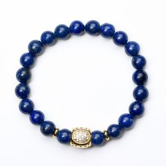 Healing Stones Lapis Lazuli Bracelet Yoga Chakra Mala Beads Bracelet for Anxiety Depression Stress Relief