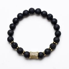 Hot Fashion Elastic Volcanic Rock Lava Healing Yoga Bracelet