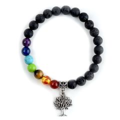 7 Chakra Healing Meditation Lava Rock Beads Bracelet Tree of Life Charm Yoga Prayer Bracelet