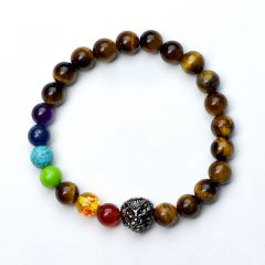 Tiger Eye 7 Chakra Beads Bracelet Healing Balance Beads Reiki Buddha Prayer Yoga Jewelry Lion Head