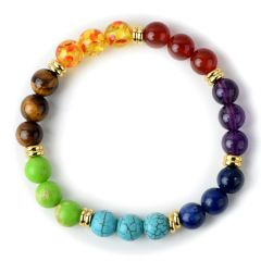 7 Chakra Stones Balancing Healing Beaded Bracelet Stretch Yoga Jewellery Buddha Prayer Pulseira