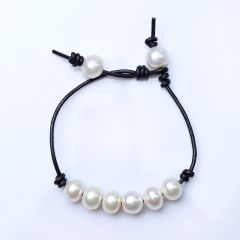 Simple Chic Freshwater Pearl Bracelet Leather String Bangle For Girls Gift 7 inch adjustable