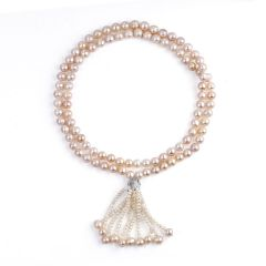 Women Fashion Pink Freshwater Pearl Necklace Long Tassels Sweater Chain Clothing Accessories Jewelry