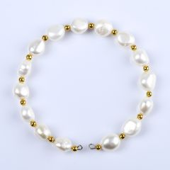 Elegant 8-9mm Rice Freshwater Pearl Single-Strand Opening Bracelet