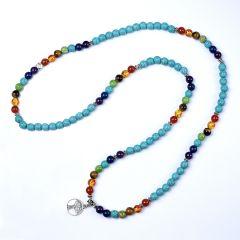 108 Mala Beads Necklace 7 Chakra Meditation Spiritual Bracelet Turquoise Tree of life Yoga Jewelry