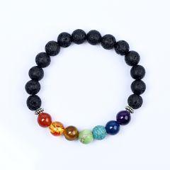 Black Lava 7 Chakra Bracelet Inspirational Christal Stones Healing Jewellery Meditation Yoga Bracelet