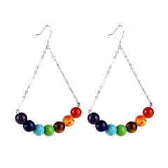 Women's 7 Chakra Stone Beads Triangle Drop Dangle Earrings Fashion Jewelry