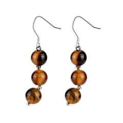 Tiger Eye Stone Dangle Earrings Boho Statement Earrings Holiday Gift for Her