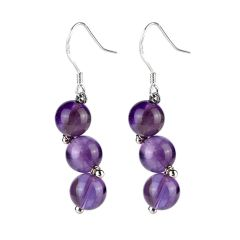 Amethyst Purple Stones Beads Drop Dangle Earrings February Birthstone Jewelry