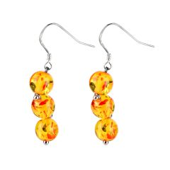 Beautiful Stone Amber Beads Dangle Earrings 925 Sterling Silver Ear Hooks Gift Jewelry