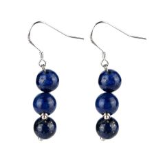 Handmade Lapis Lazuli Earrings Blue Dangle Boho Earrings for Women