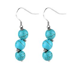 Handmade Turquoise Stone Beaded Drop Dangle Earrings on Silver Ear Wires
