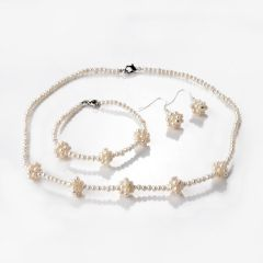 Small 3-4mm Freshwater Pearl Necklace Bracelet Earrings 3 Set for Women Girls