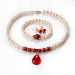 Noble 8-9mm Light Pink Pearl Red Coral Necklace Bracelet Earring Jewelry with Teardrop Pendant