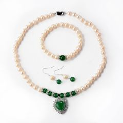 Luxurious Pearl Necklace Bracelet and Earring Jewelry Set with Shiny Crystal for Mother Gifts