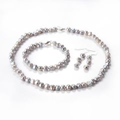 7-8mm Gray Freshwater Pearl Necklace Bracelet Earrings Set for Female Fashion Jewelry
