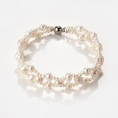 Luxury Freshwater Pearl Double Layer Bracelet Bangle Charms Jewelry for Women