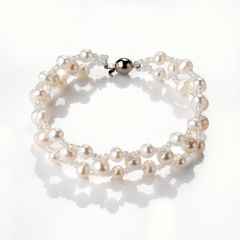 Handmade Pearl and Glass Bead Chic Bracelet Charm Layer Jewelry 7.5 inch