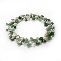 White Freshwater Pearl and Green Aventurine Stone Bead Long Strand Necklace Charming Jewelry 48 inch