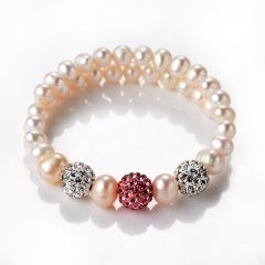 Freshwater Pearl Adjustable Bracelet with Shiny Disco Ball Beads Pave Crystals
