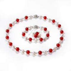 White Freshwater Pearl and Red Coral Necklace Bracelet Earring 3 Piece Jewelry Set with Flower Clasp