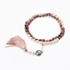 Rhodochrosite Stone Beads and Rice Freshwater Pearl 28 Inch Strand Necklace with Removable Tassel