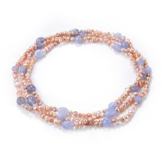 Nugget Lilac Purple Cultured Freshwater Pearl & Blue Lace Agate Long Strand Necklace 48 inch
