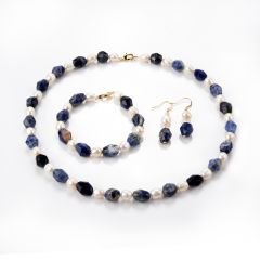 Faceted Sodalite and White Freshwater Pearl Beaded Necklace Bracelet Earrings Set