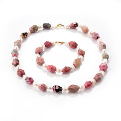 Faceted Rhodochrosite Stone and White Rice Pearl Beads Single Strand Necklace Bracelet
