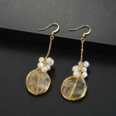 Chic Boho Handmade Citrine and Freshwater Pearl Drop Dangle Earrings for Women Girls