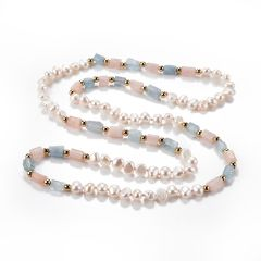Classic White Freshwater Pearl Morganite Rose Quartz Gemstone Beaded Necklace Jewelry