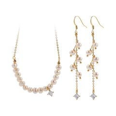 White Rice Freshwater Pearl Gold Plated Brass Chain Necklace and Long Drop Dangling Earring Set
