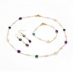 Delicate Russian Amazonite Amethyst Citrine Pearls Gemstone Chain Necklace Bracelet Earrings Set