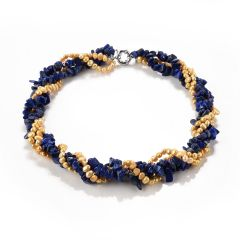 Lapis Lazuli and Golden Freshwater Pearl Beaded Twisted Necklace Four Strand Statement Necklace