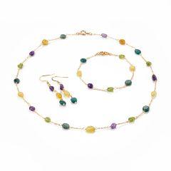 Colorful Gemstone Russian Amazonite Peridot Amethyst Yellow Opal Necklace Bracelet Earrings Jewelry Set