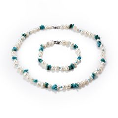 Nugget White Freshwater Cultured Pearl and Blue Turquoise Beaded Single Strand Necklace Bracelet Set