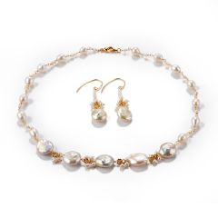 Baroque White Freshwater Pearl Chain Single Strand Necklace and Drop Dangle Earrings Set