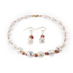White Baroque Rice Freshwater Pearl and Pink Tourmaline Necklace Earrings Set
