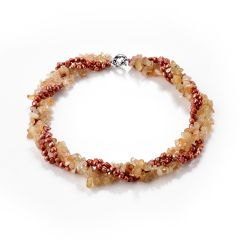 Nugget Red Fresh Water Pearl and Citrine Stone Beads 4 Strands Necklace