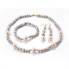 Classic Gray Freshwater Pearl Necklace Bracelet Dangle Earrings 3 Piece Jewelry Set