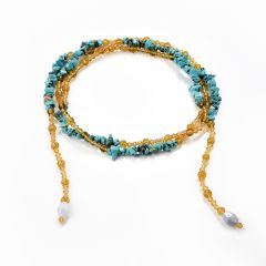 Nugget Turquoise Faceted Citrine Yellow Crystal Beaded Open End Necklace