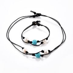 Double Strand Turquoise Pearl Leather Cord Choker Necklace Bracelet Jewelry Set