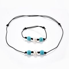 Single Freshwater Pearl Turquoise Beads Necklace Bracelet Adjustable Leather Jewelry for Girls