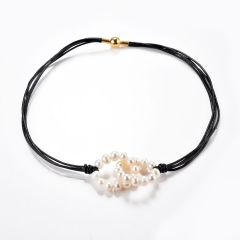 Pearl and Leather Circles of Love Necklace Entwined Freshwater Pearl Rings Multi Strand Leather Necklace