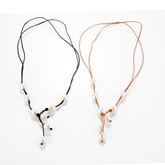Trendy Boho White Rice Freshwater Pearl Leather Knotted Lariat Necklace