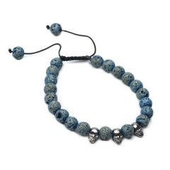 Skull Charm Lava Rock Beads Adjustable Diffuser Bracelet for Men